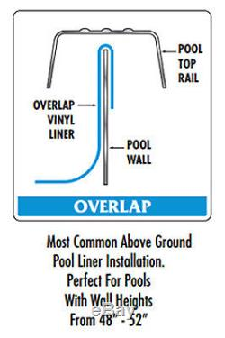 12' Round Overlap Plain Blue Above Ground Swimming Pool Liner-30 Gauge