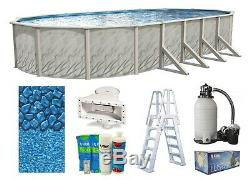 12 x 18 Oval Meadow Swimming Pool with Boulder Overlap Liner, Sand Filter & Ladder