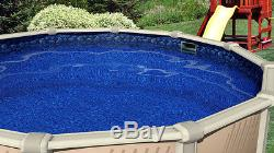 12'x52 Ft Round MEADOWS Above Ground Swimming Pool with Boulder Swirl Liner Kit