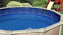 18' FT Round Overlap Swirl Tile 20 GA Above Ground Swimming Pool Liner withCoping