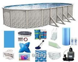 18'x33'x52 Above Ground Oval Meadows Swimming Pool with Liner, Step & Filter