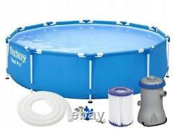 18in1 BestWay SWIMMING POOL 366cm 12FT Garden Round Frame Ground Pool + PUMP SET