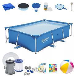 20in1 SWIMMING POOL BESTWAY 259cm x 170cm x 61cm Above Ground Square Pool + PUMP