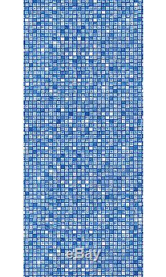 21'x48 Round Unibead Blue Cube Tile Above Ground Swimming Pool Liner-25 Gauge