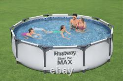 21in1 SWIMMING POOL BestWay 305cm 10FT Garden Round Frame Ground Pool + PUMP SET