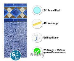 24 x 48 Round Unibead Mosaic Diamond Above Ground Swimming Pool Liner -25 Gauge