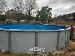 24' x 52 Round Above Ground Asahi Steel Wall Swimming Pool with Blue Liner Kit