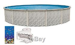 24'x52 Ft Round MEADOWS Above Ground Swimming Pool with Caribbean Fish Liner Kit