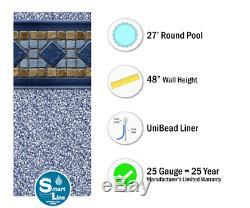27' x 48 Round Unibead Laguna Tile Above Ground Swimming Pool Liner 25 Gauge