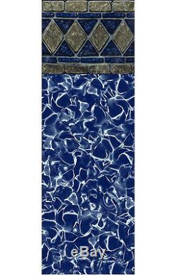 27'x48 Round J-Hook Blue Reflection Above Ground Swimming Pool Liner-20 Gauge