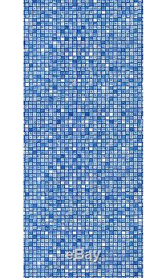27'x48 Round Unibead Blue Cube Tile Above Ground Swimming Pool Liner-20 Gauge