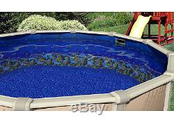 27'x52 Ft Round MEADOWS Above Ground Swimming Pool with Caribbean Fish Liner Kit