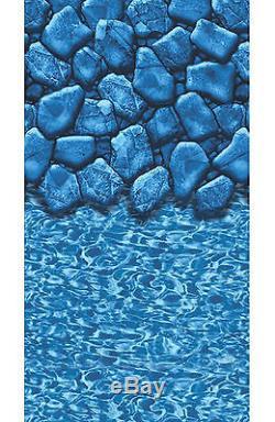 28' FT Round Overlap Boulder Swirl Above Ground Swimming Pool Liner-20 Gauge