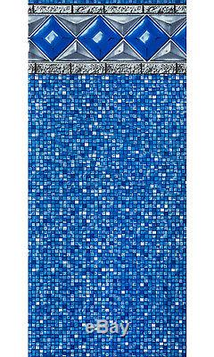 28'x52 Ft Round Unibead Crystal Tile Above Ground Swimming Pool Liner-25 Gauge