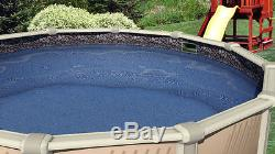 30' Ft Round Overlap Rock Island Above Ground Swimming Pool Liner-25 Gauge
