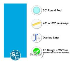 30' Round Overlap Plain Blue Above Ground Swimming Pool Liner 20 Gauge