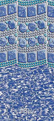 30' ft Round Overlap Swirl Tile Above Ground Swimming Pool Liner-25 Gauge