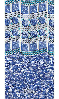 33' ft Round Overlap Swirl Tile Above Ground Swimming Pool Liner-25 Gauge