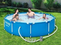 6in1 GARDEN SWIMMING POOL 366 cm 12FT Round Frame Above Ground Pool + PUMP SET