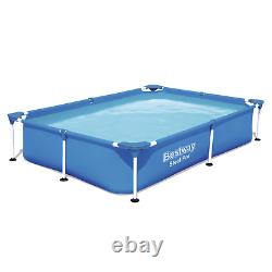 6in1 SWIMMING POOL BESTWAY 221cm x 150cm x 43cm Above Ground Square Pool + PATCH