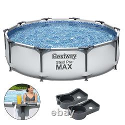 7in1 SWIMMING POOL BESTWAY 305cm 10ft Above Ground Round Garden Pool + CUPHOLDER