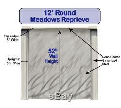 Above Ground 12' x 52 Round MEADOWS Steel Wall Swimming Pool with Blue Liner Kit