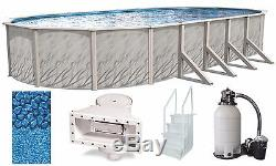 Above Ground 12'x24'x52 Oval Meadows Swimming Pool with Liner, Step, Filter Kit