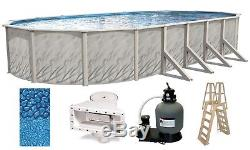 Above Ground 12x24'x52 Oval MEADOWS Swimming Pool with Liner, Ladder & Filter Kit