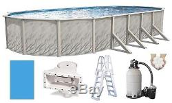Above Ground 12x24x52 Oval Meadows Swimming Pool with Liner, Ladder & Filter Kit