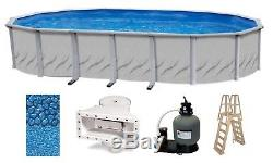Above Ground 15'x24'x52 Oval GALLERIA Swimming Pool with Liner, Ladder & Filter