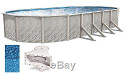 Above Ground 15x24x52 Ft Oval MEADOWS Swimming Pool with Boulder Swirl Liner Kit