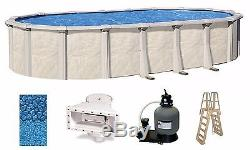 Above Ground 15x30x52 Oval FALLSTON Swimming Pool with Liner, Ladder & Filter Kit