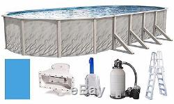 Above Ground 15x30x52 Oval Meadow Swimming Pool with Liner Filter & Salt Generator