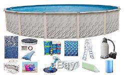 Above Ground 15x52 Round Meadow Swimming Pool with Cracked Liner, Ladder & Filter