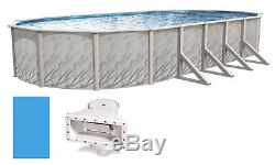 Above Ground 18'x33'x52 Ft Oval MEADOWS Steel Wall Swimming Pool & Liner Kit