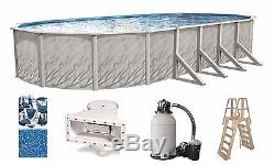 Above Ground 18'x33'x52 Oval MEADOW Swimming Pool with Liner, Ladder & Filter Kit