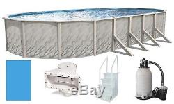 Above Ground 18'x33'x52 Oval Meadows Swimming Pool with Liner, Step, Filter Kit