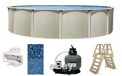 Above Ground 21'x48 Round Impressions Swimming Pool with Liner, Ladder & Filter