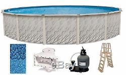 Above Ground 27'x52 Round MEADOWS Swimming Pool with Liner, Ladder & Filter Kit