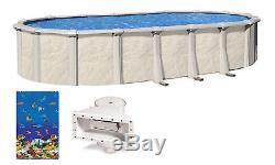 Above Ground Oval Fallston Steel Wall Swimming Pool with Caribbean Liner & Skimmer