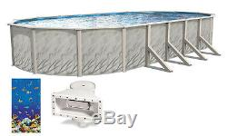 Above Ground Oval MEADOWS Steel Wall Swimming Pool with Caribbean Overlap Liner