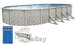 Above Ground Oval MEADOWS Steel Wall Swimming Pool with Crystal Tile Unibead Liner
