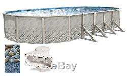 Above Ground Oval MEADOWS Steel Wall Swimming Pool with Rock Island 25 Gauge Liner