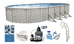 Above Ground Oval Meadows Swimming Pool with In-Pool Ladder, Sand Filter & Liner