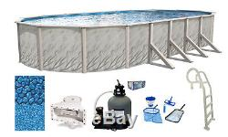 Above Ground Oval Meadows Swimming Pool with Liner, Sand Filter & In-Pool Ladder