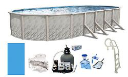 Above Ground Oval Meadows Swimming Pool with Sand Filter, In-Pool Ladder & Liner