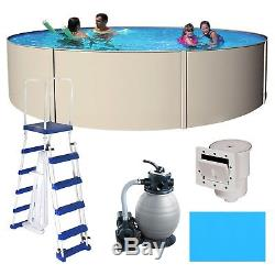 Above Ground Round Havana Blue Wave Swimming Pool with Liner, Ladder & Sand Filter