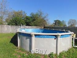 Above ground poolused in good condition pool pump included but no liner