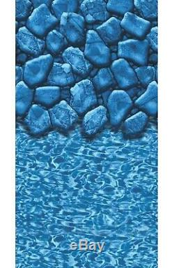 Aboveground Oval MEADOWS Steel Wall Swimming Pool with Boulder Swirl Overlap Liner