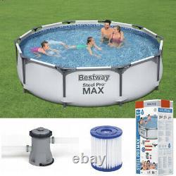 BestWay SWIMMING POOL 366cm 12FT Garden Round Frame Above Ground Pool + PUMP SET